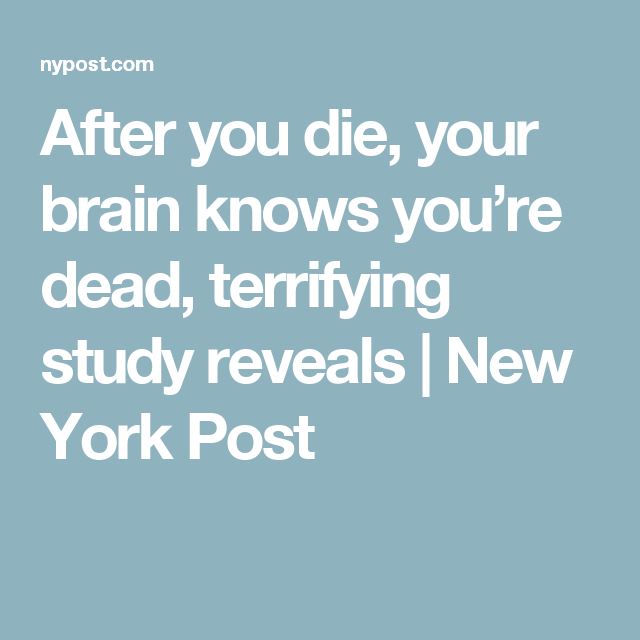 After You Die Your Brain Knows You Re Dead Terrifying Study Reveals New York Post Your Brain Reveal Terrified