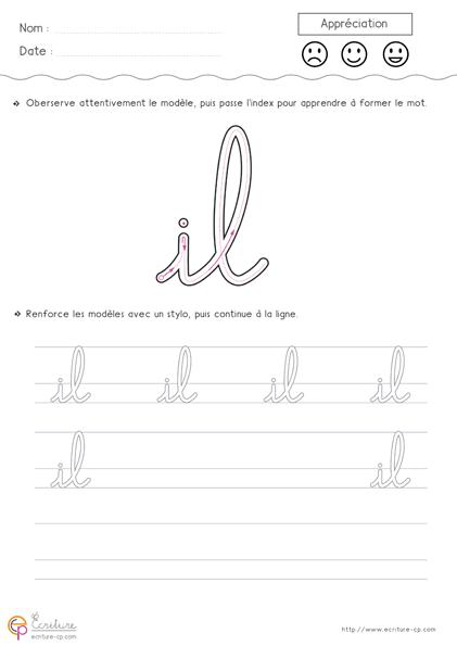 PDF Fiche d'écriture cursive Maternelle GS à imprimer: des ...
