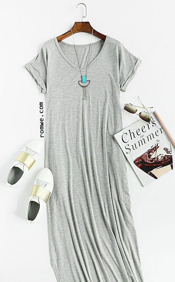 Grey Rolled-cuff Pockets Split Maxi Dress | Maxi tshirt dress ...