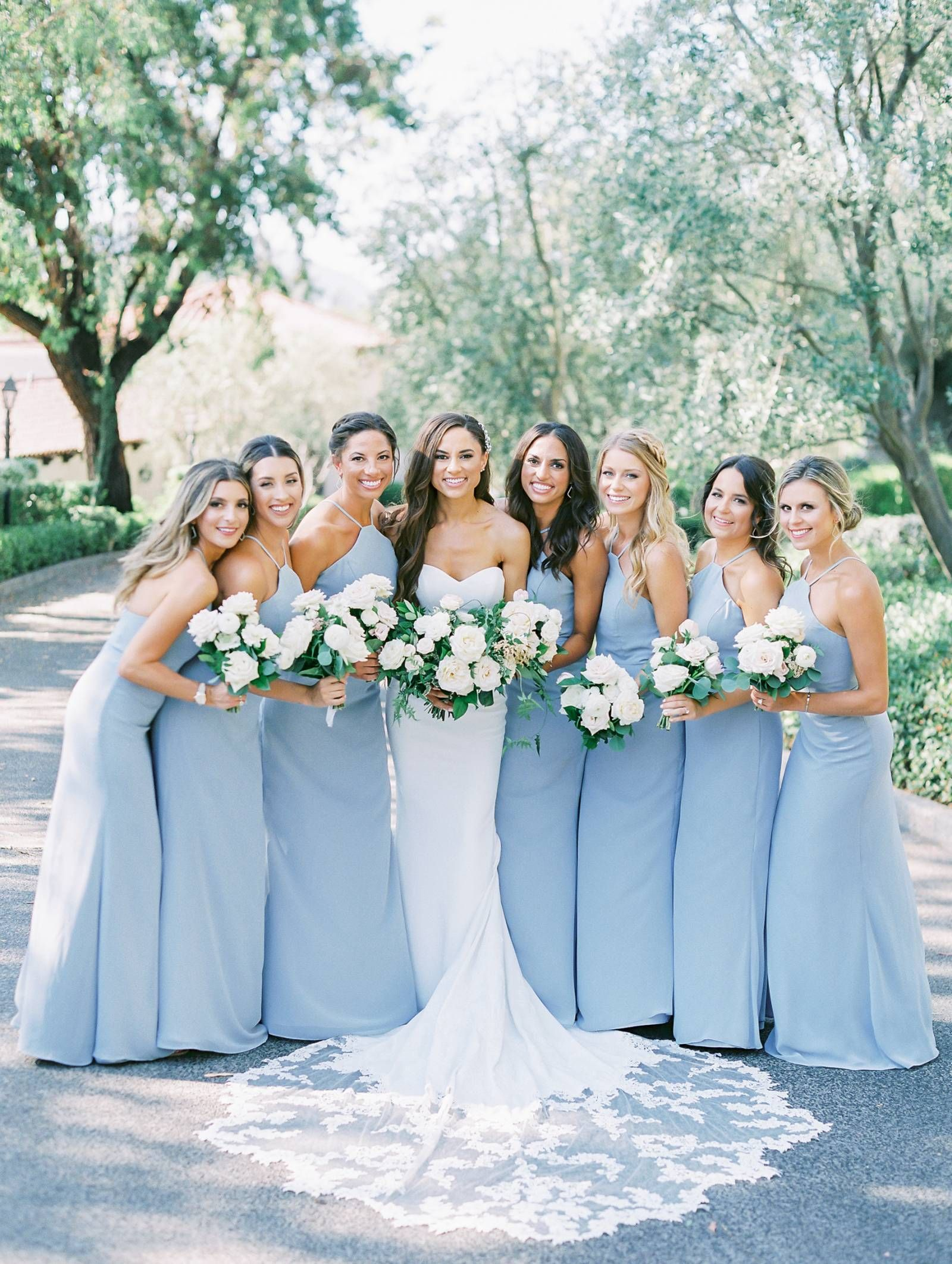 Hayley Paige Bridesmaids Dresses In A Gorgeous Shade Of Blue Elegant Romantic Outdoor Wed Wedding Bridesmaid Dresses Blue Bridesmaids Light Blue Bridesmaid [ 2125 x 1600 Pixel ]
