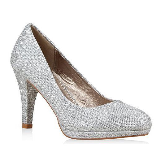 Klassische Damen Pumps Elegante High Heels Glitzer Stilettos