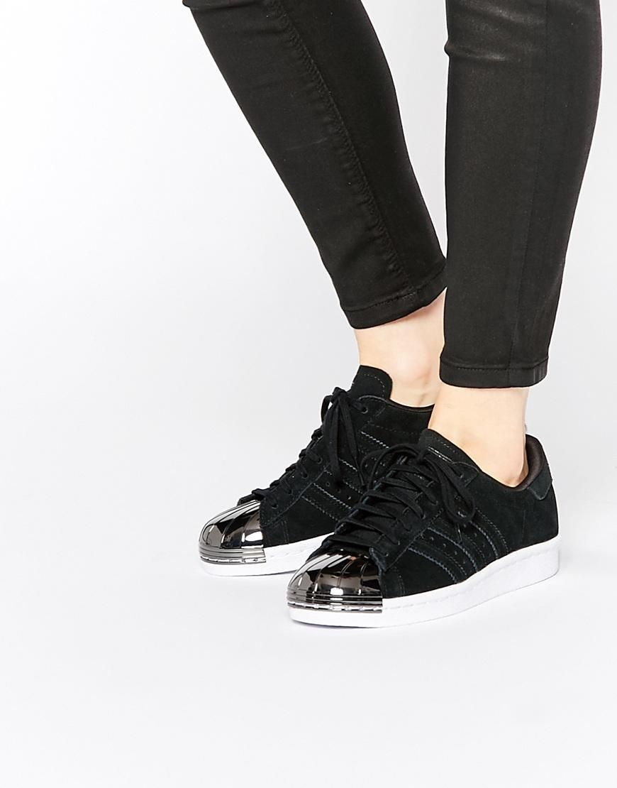 uk availability 378d7 b0309 Adidas   adidas Originals Superstar 80s Black Metal Toe Cap Sneakers at ASOS