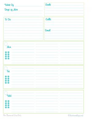 Personal Planner  Free Printables  Weekly Planner Time