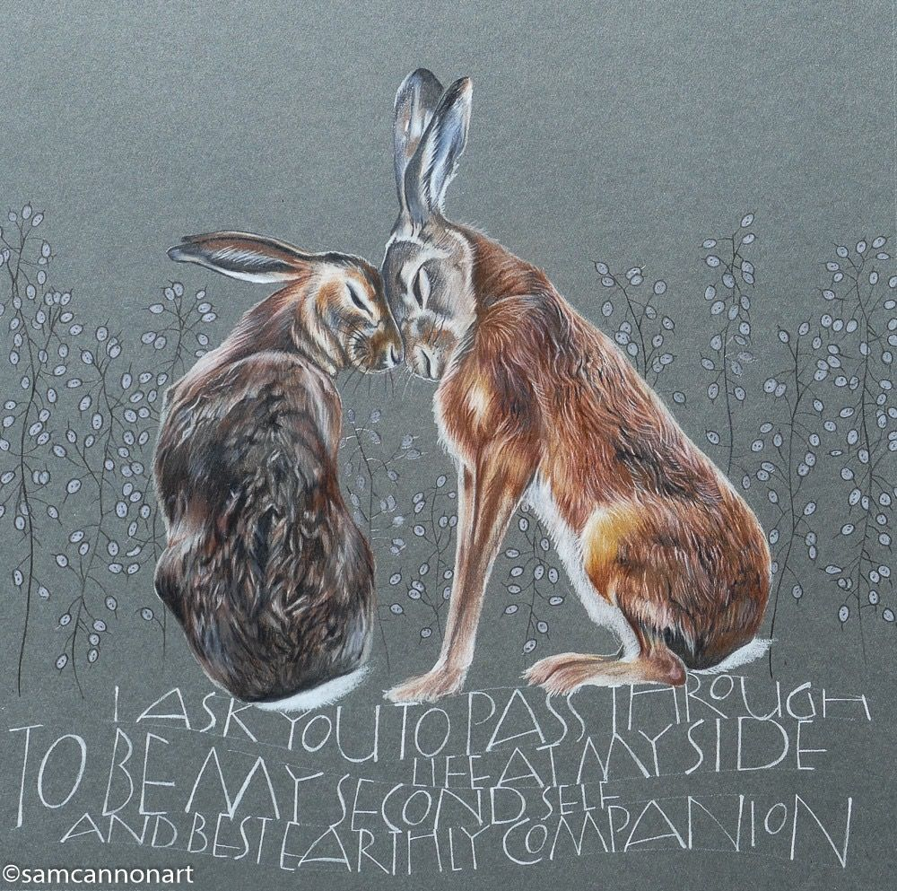 Brown hares amongst the 'Honesty'. Colour pencils on a grey/green mountboard. Using words from Charlotte Brontë — 'I ask you to pass through life at my side—to be my second self, and best earthly companion.'