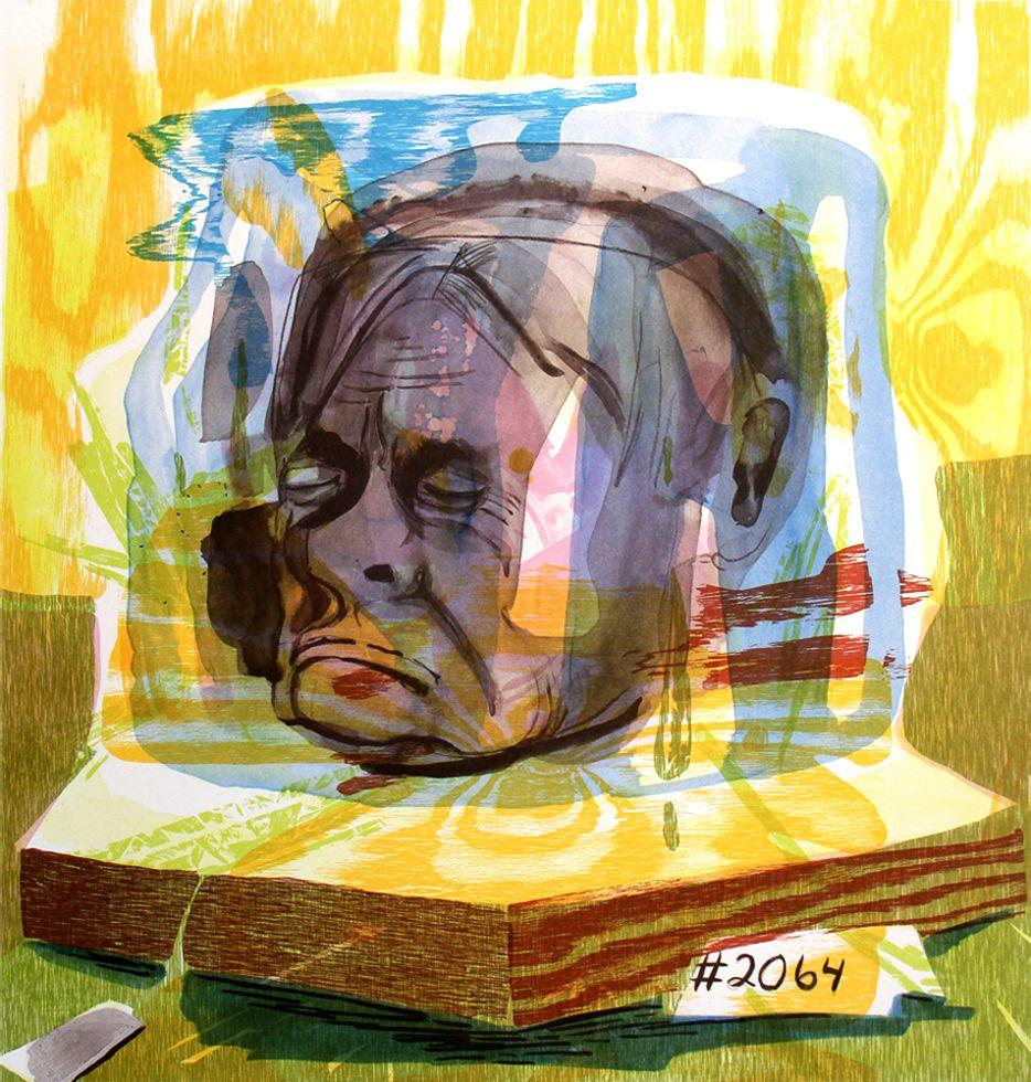 Dana schutz untitled head of timothy leary 2005