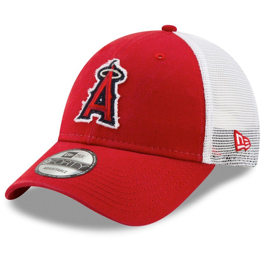 593bca8ee Men's Los Angeles Angels New Era Red/White Team Truckered 9FORTY ...