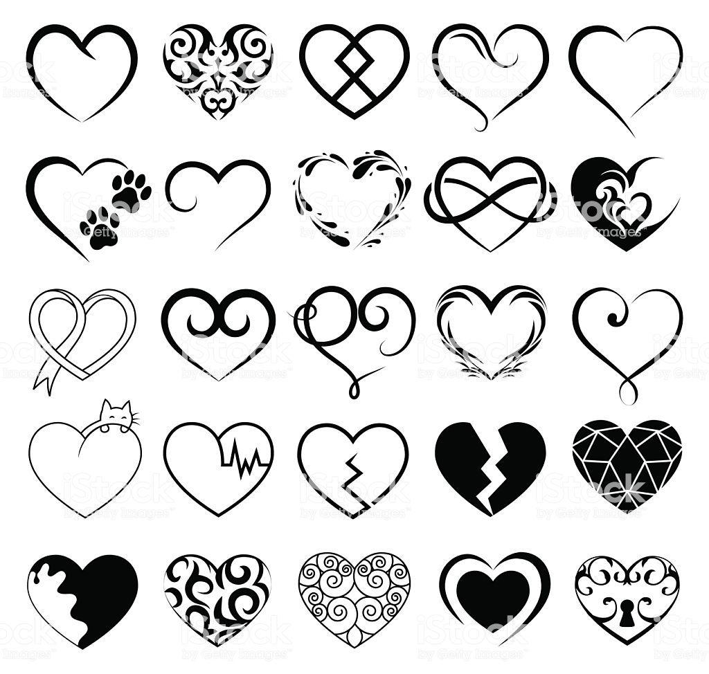 Set Of 25 Tattoo Hearts Image Vector Symbol Heart Tattoo