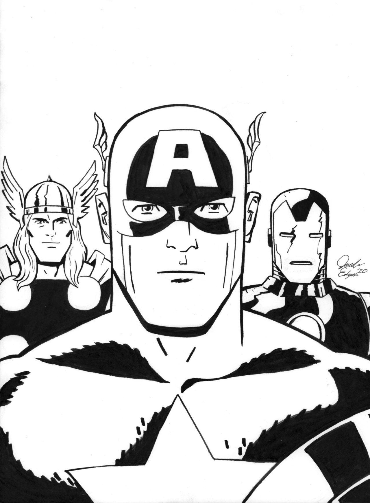 Comic Art Showcase Captain America Thor And Iron Man By Jacob Edgar In 2021 Iron Man Comic Art Man