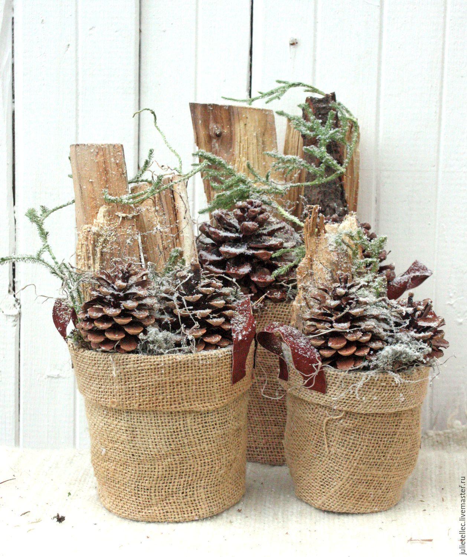 Купить Композиция Каминная - коричневый, бежевый, зимняя композиция, шишки, дрока, украшение дома, Праздник