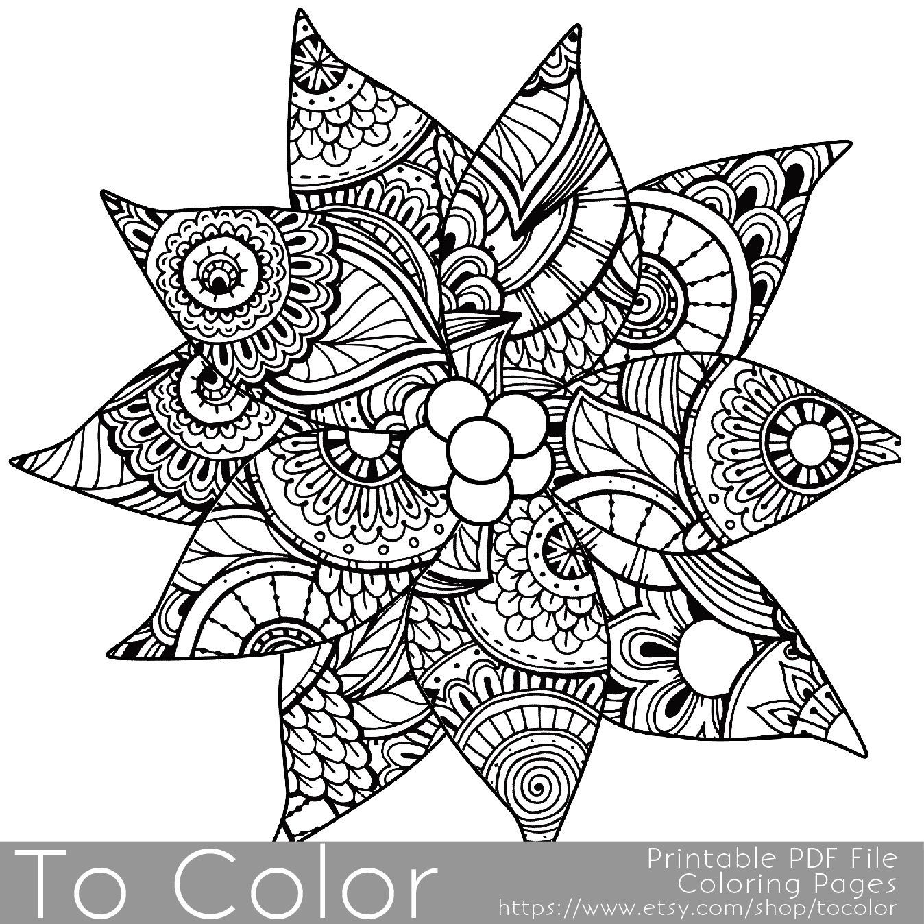 Christmas Coloring Page for Adults - Poinsettia Coloring Page ...
