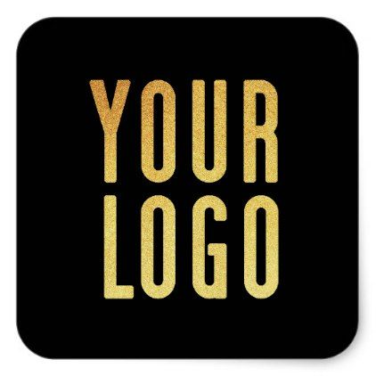 Promotional your company or event logo black square sticker business logo cyo personalize customize diy
