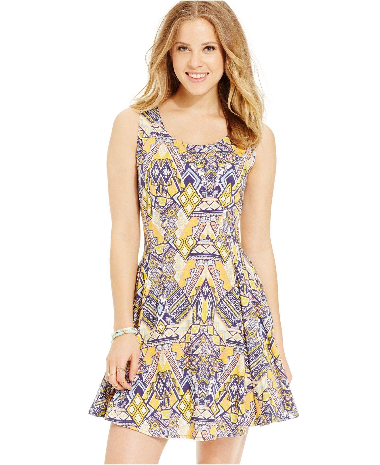 Bebop juniors printed fit flare dress juniors dresses