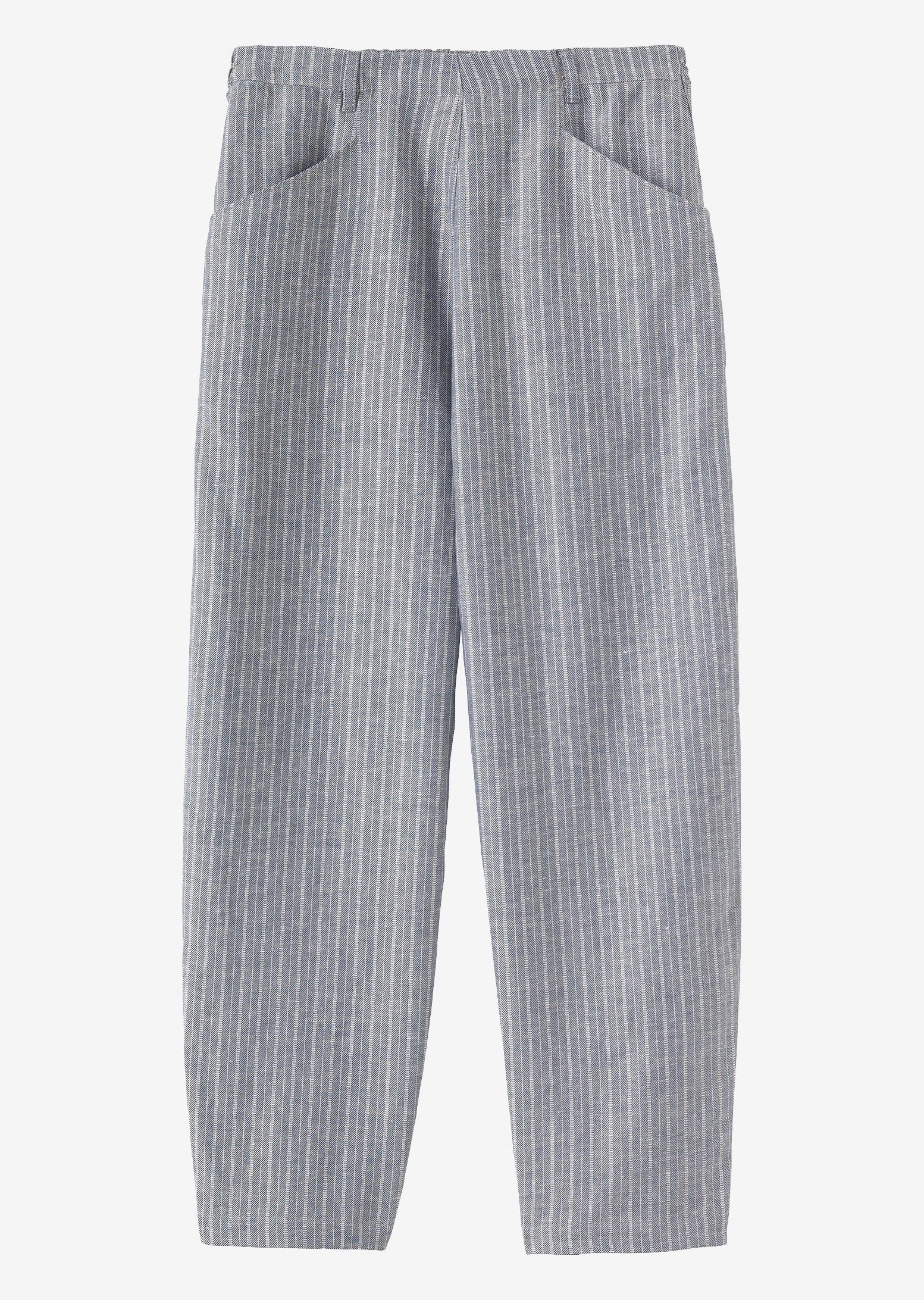 a2134a87e8a6f8 Supple, midweight, linen with a woven crosshatch stripe. Flat front,  elasticated at back waistband. Belt loops. Low crotch. Ankle skimming.  Pockets.