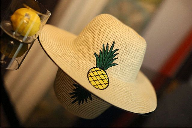 Wide Brim Women Sun Hats Summer For Pineapple Embroidery Shade Beach Straw Hat Chapeau