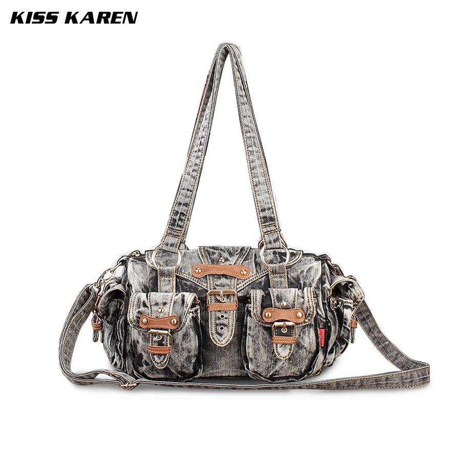 2bd8c9cc7d6f KISS KAREN Vintage Fashion Denim Women Shoulder Bag Casual Travel Totes  Cowboy Travel Bags Jeans Ladies Handbags Women Bag