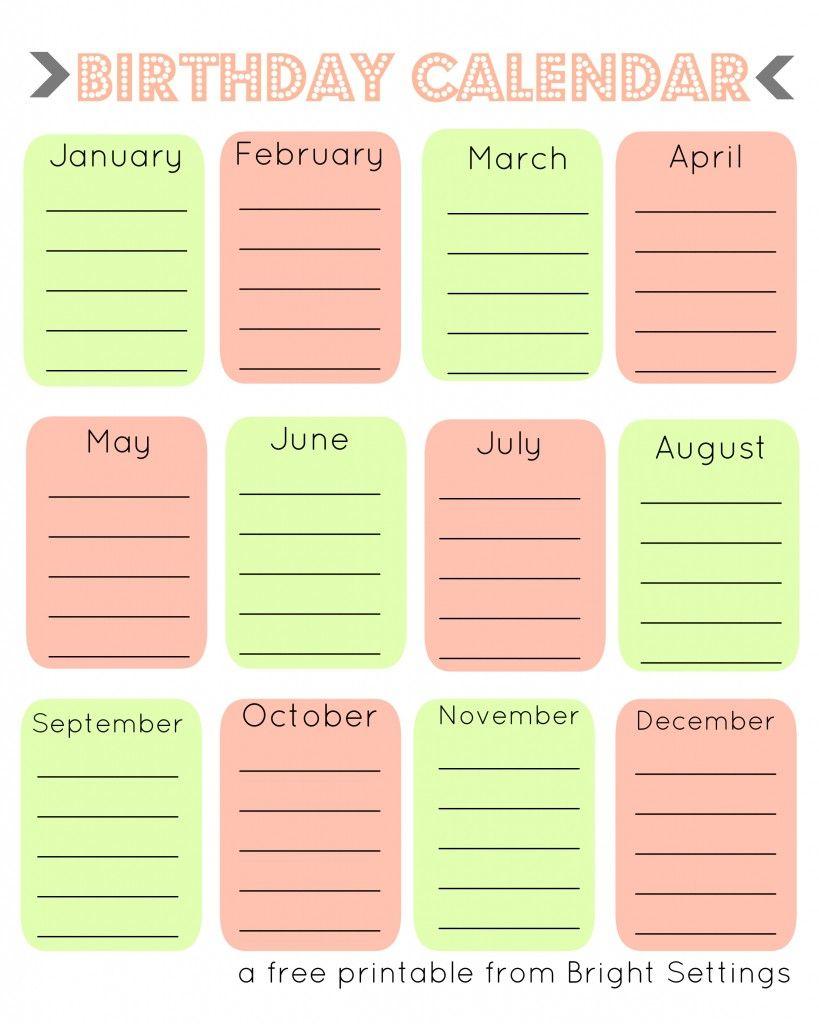 Free Printable Birthday Calendar  A Perpetual Calendar To Help