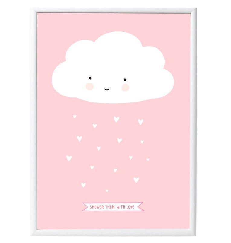 poster nuage rose fond pastel dessin trop mignon et nuages roses. Black Bedroom Furniture Sets. Home Design Ideas