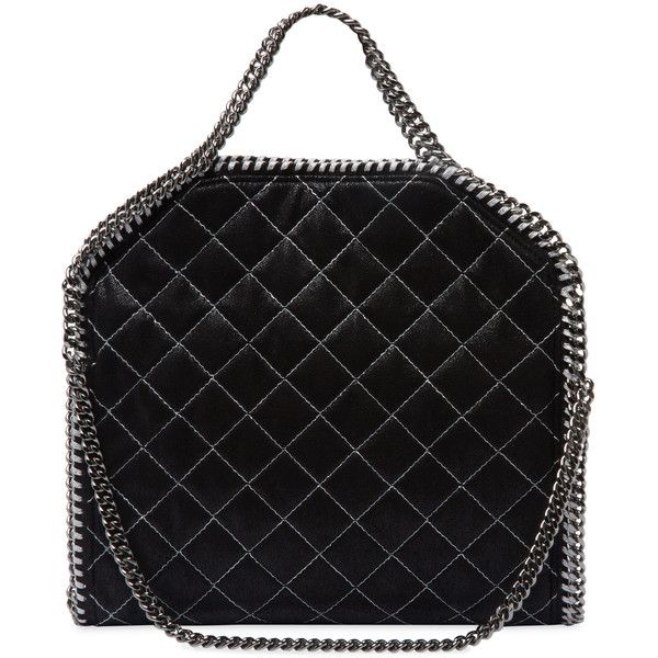 Stella McCartney Women's Falabella Quilted Shaggy Deer Fold Over Tote... ($1,039) ❤ liked on Polyvore featuring bags, handbags, tote bags, silver, silver tote bag, silver tote, medium tote, quilted handbags and medium tote bag