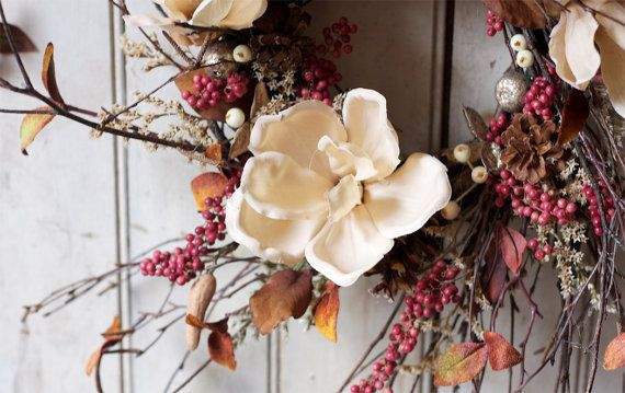Holiday Magnolia Wreath  Elegant Holidays  by TheLinnetsWing, $64.00