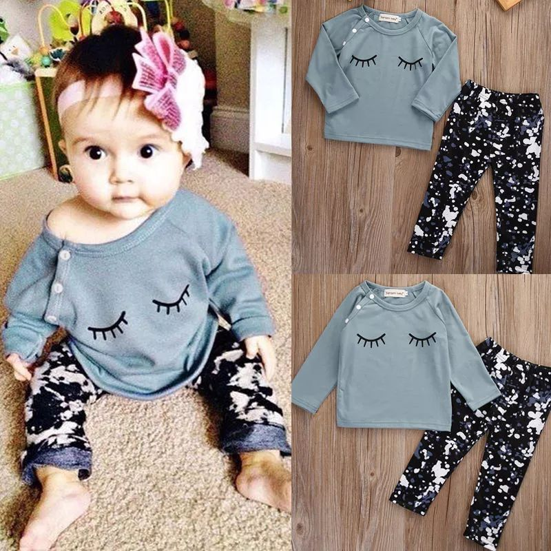 Pants 2Pcs Outfits Kids Clothes Set 3 Style Newborn Toddler Baby Girl Tops
