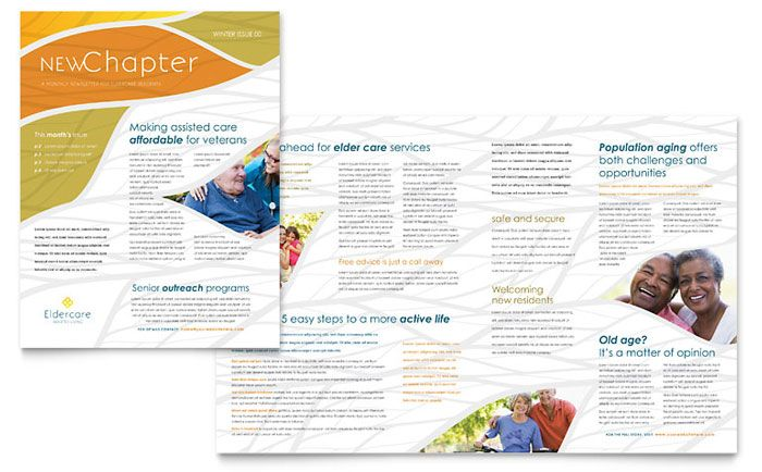 Assisted Living Newsletter Design Template By Stocklayouts