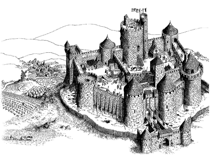 Coloriage Attaque Chateau Fort.Galerie De Coloriages Gratuits Coloriage Adulte Chateau Fort