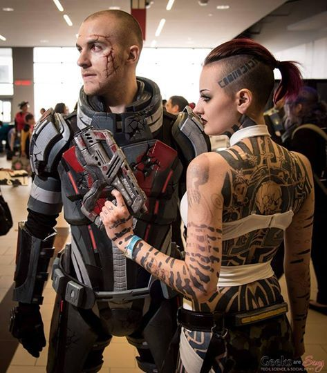Jack and Shepard from Mass Effect 3  cosplay by sarah Leclerc makeup artist & Gabriel Forbes photo by Geeks are sexy #masseffect3 #cosplayclass #cosplay