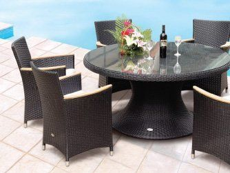 60 Inch Royal Teak Helena Resin Wicker Round Dining Table By Royal