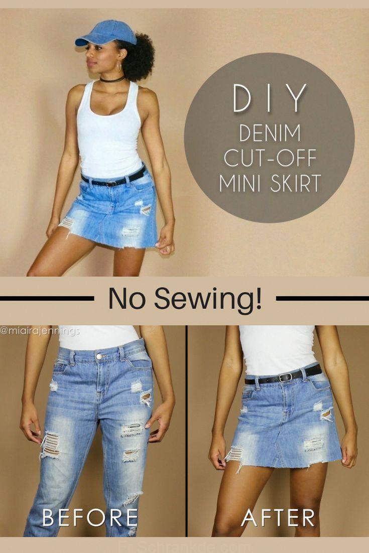 Transformez vos vieux jeans en une jupe coupée en jean #DIY sans couture! ✂️ #NoSew #Vêtements #Fashion ... #vieuxjeans