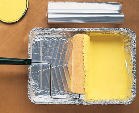 Adding a sheet of aluminum foil to the bottom of your paint tray will keep your paint tray clean