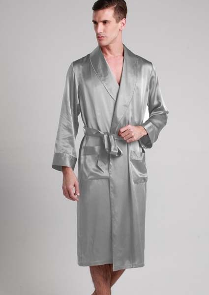 Best Quality Silk Robe Are Made Of 22 Momme Mulberry With Contrast Trim And Self Belt