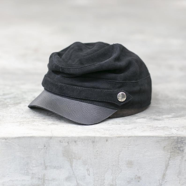 Kepi Cap Chapeau Fourrage Noir Vetements Blamo Chapeau Etsy Leather Hats Mens Hats Fashion Hats For Men