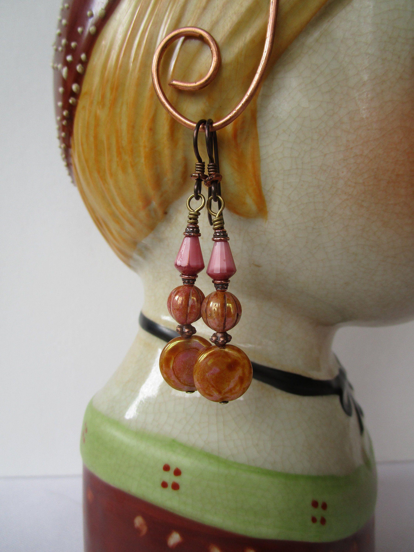 Pretty in Pink Czech Glass Beaded Gold Earrings
