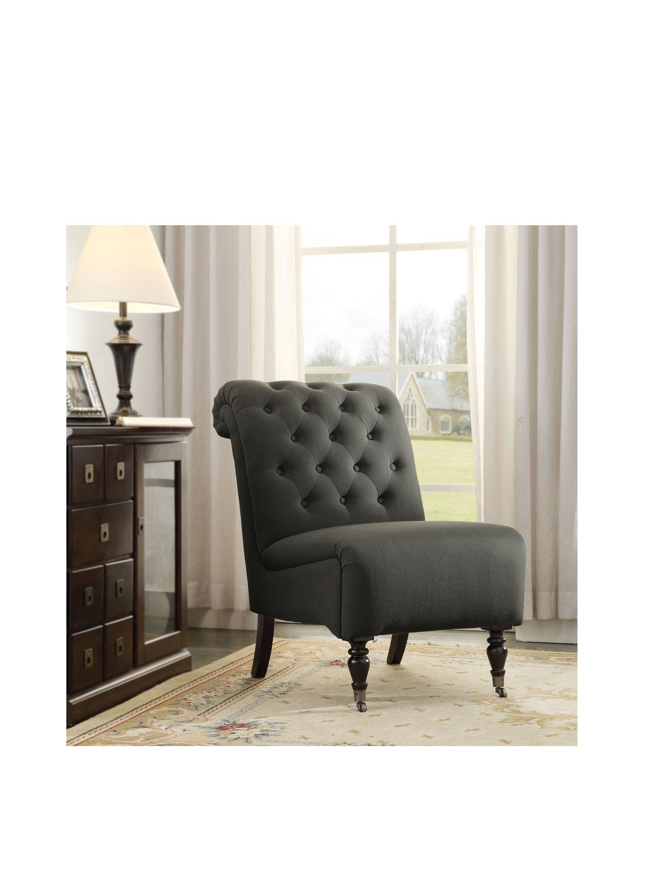 Myhabit Tufted Chair Grey Fabric Accent Chair Furniture