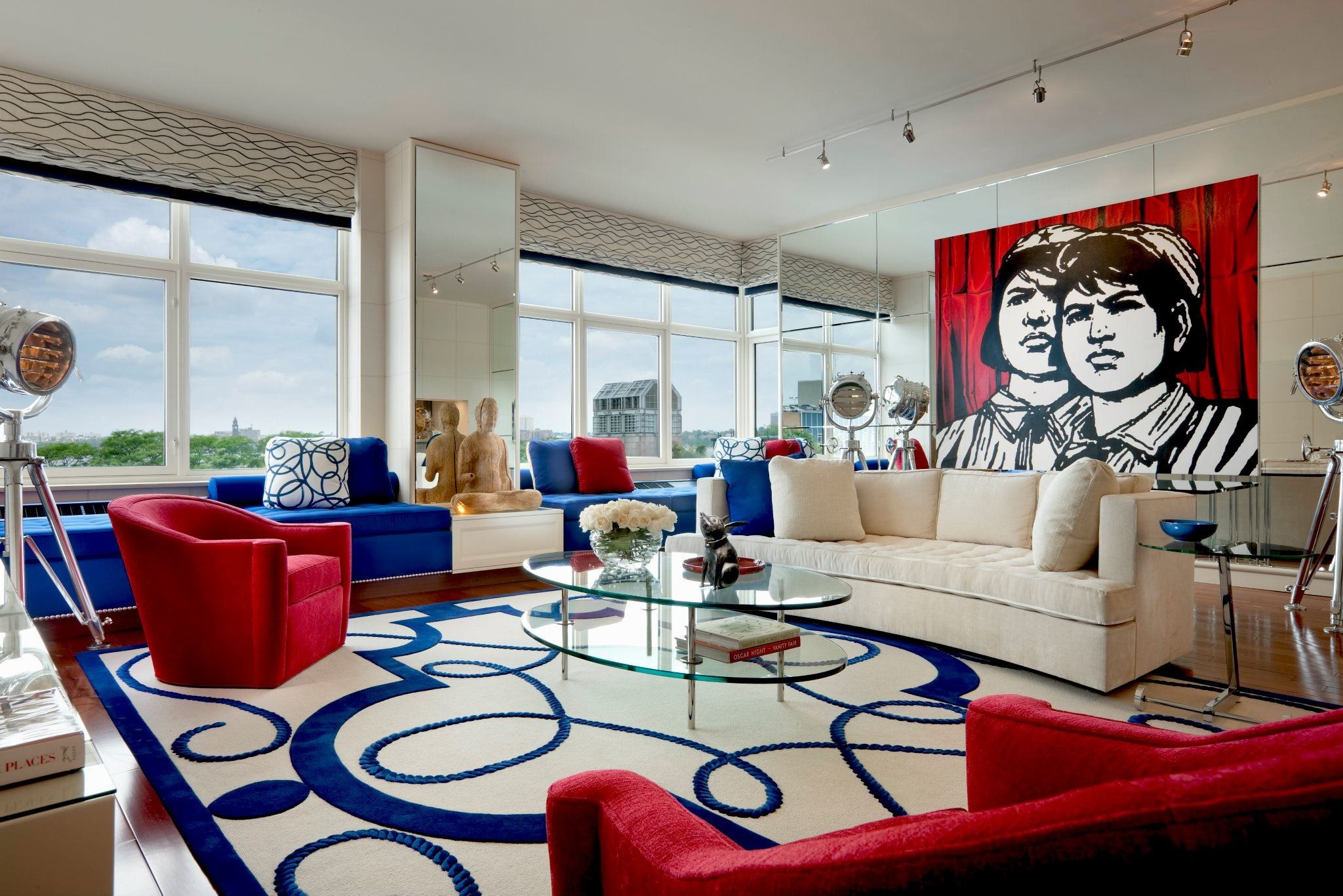Red Blue And White Modern Living Room