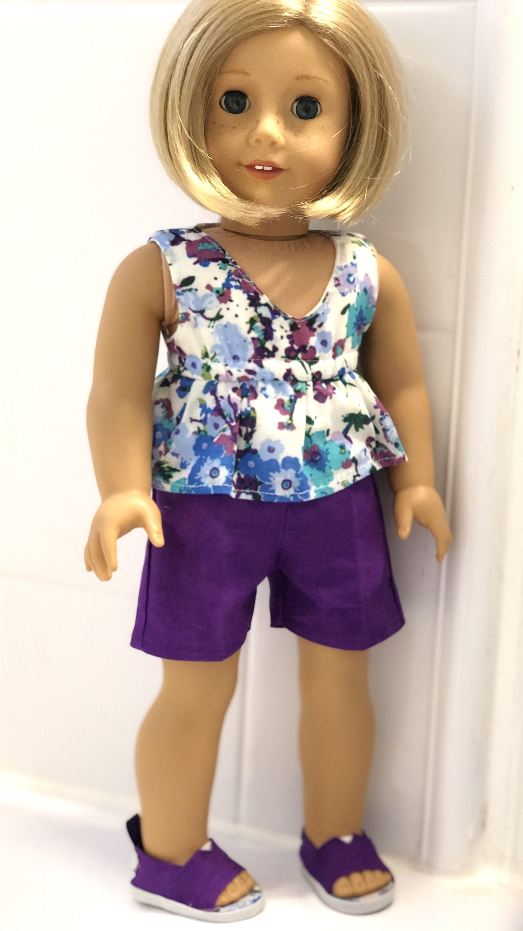 18 Inch Doll Clothes - Purple and Floral Summer Top, Shorts, and Shoes Made for 18 Inch Girl Dolls Such as THE MOST Popular Girl Doll