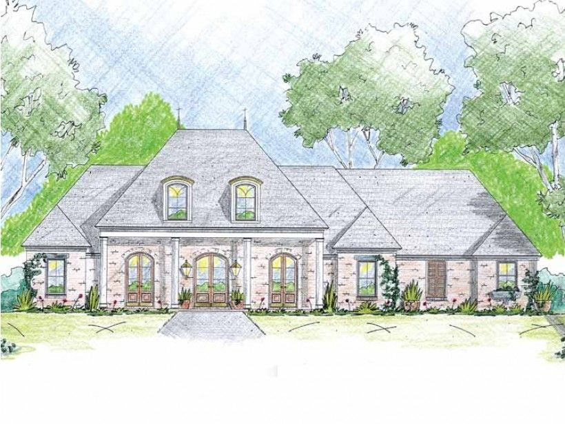 Georgian Style 1 story 4 bedrooms(s) House Plan with 2408 total square feet and 2 Full Bathroom(s) from Dream Home Source House Plans