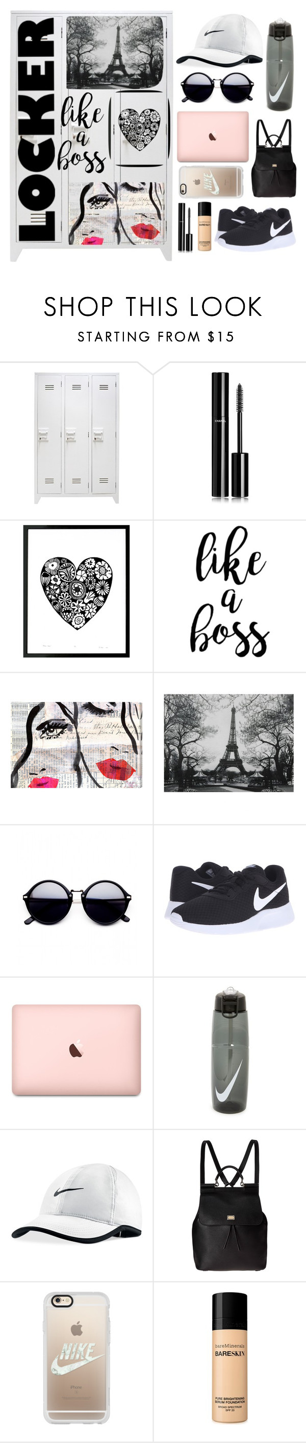 """""""Locker Decor"""" by rhiannonpsayer ❤ liked on Polyvore featuring interior, interiors, interior design, home, home decor, interior decorating, Chanel, Oliver Gal Artist Co., NIKE and Dolce&Gabbana"""