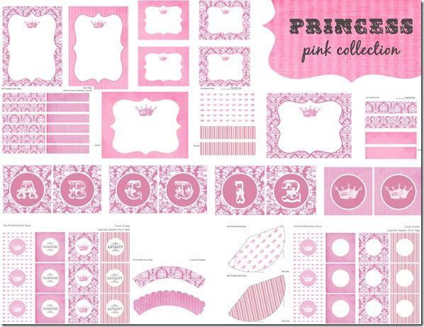 Printable Party Shop Pink Princess party set Printables Party