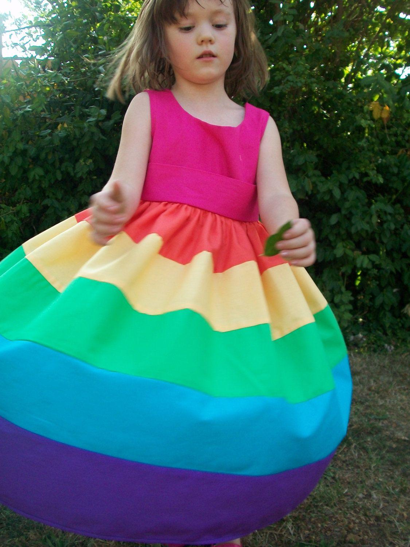 Rainbow Party Dress Sizes 2 3 4 5 or 6. 60.00, via Etsy