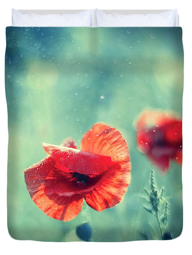 Red Poppy On Aqua Duvet Cover For Sale By Oksana Ariskina Red Poppies Aqua Duvet Cover Poppies