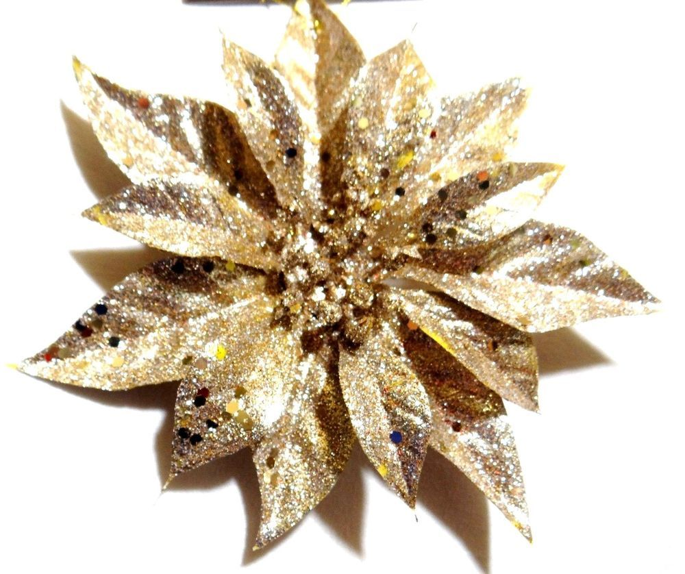 8 Large Gold Glitter Poinsettia Flower Clip On Hanging Christmas Decoration New Gold Christmas Wonderful Things Decor Crafts