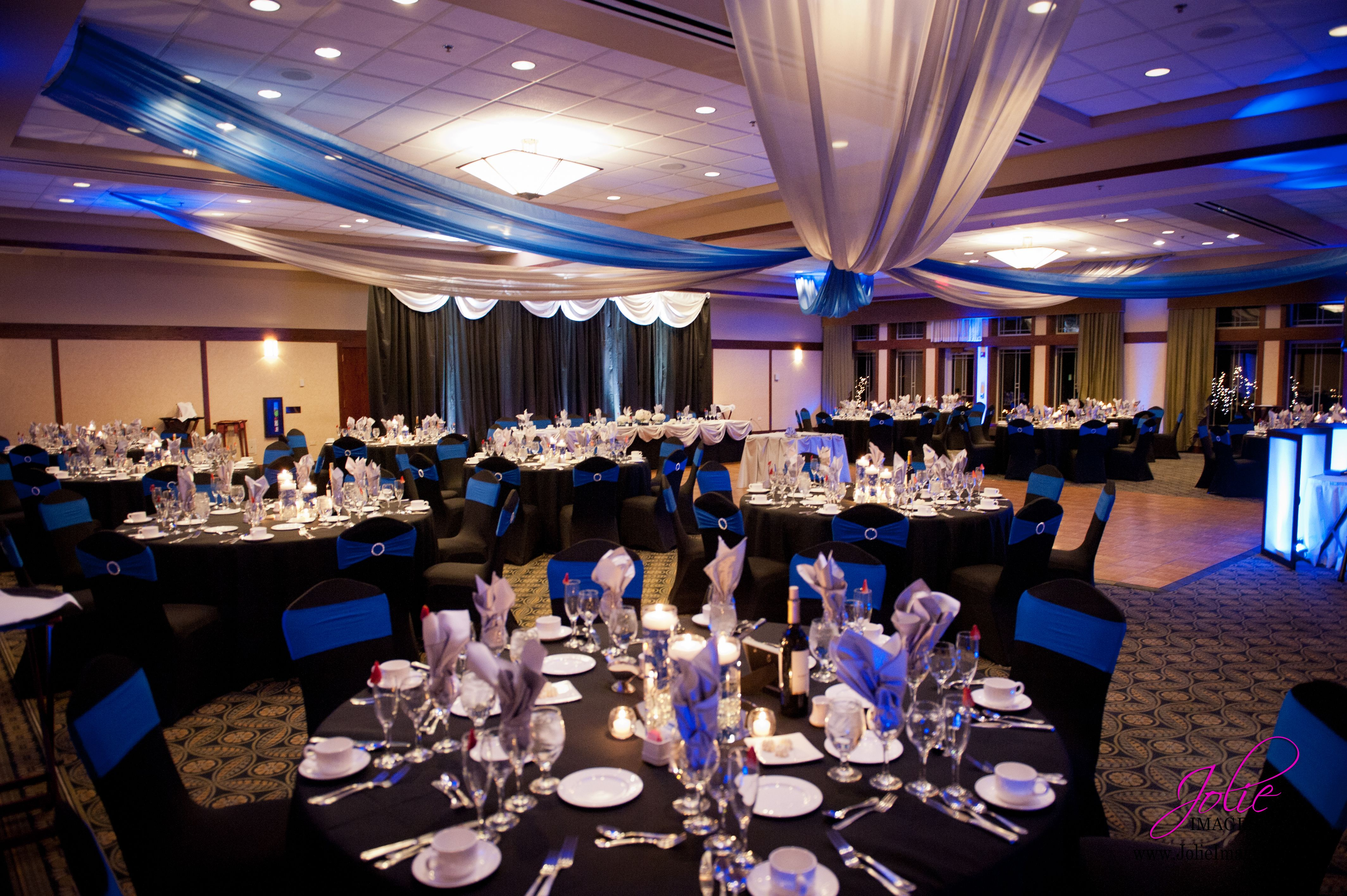 Silver Royal Blue And Black Wedding Spandex Chair Covers Ceiling Draping