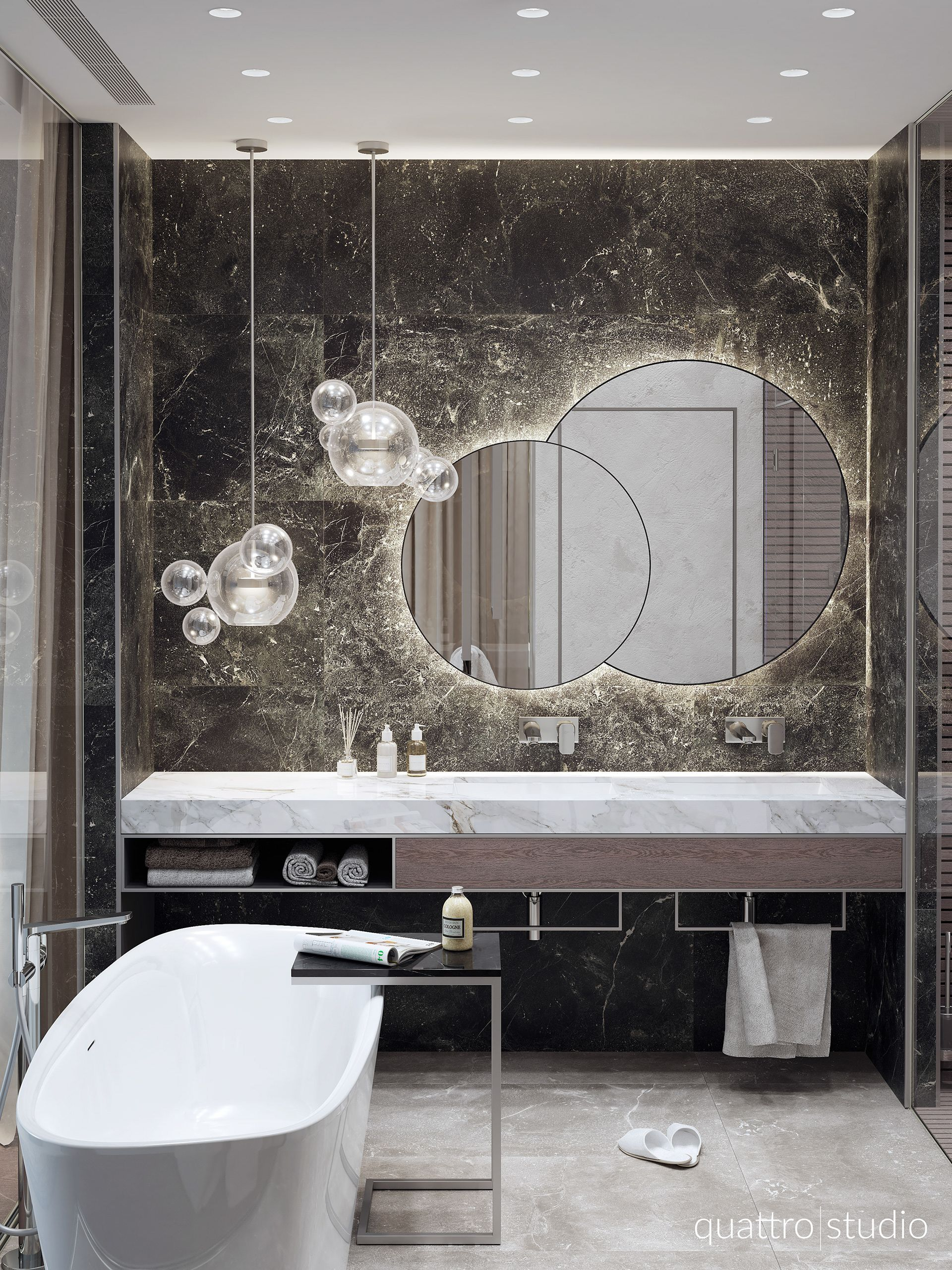 Contrast I Love This Room I Think Its Different And Has Its Own Style Love The Darker Wall An Modern Bathroom Mirrors Elegant Bathroom Modern Bathroom Design