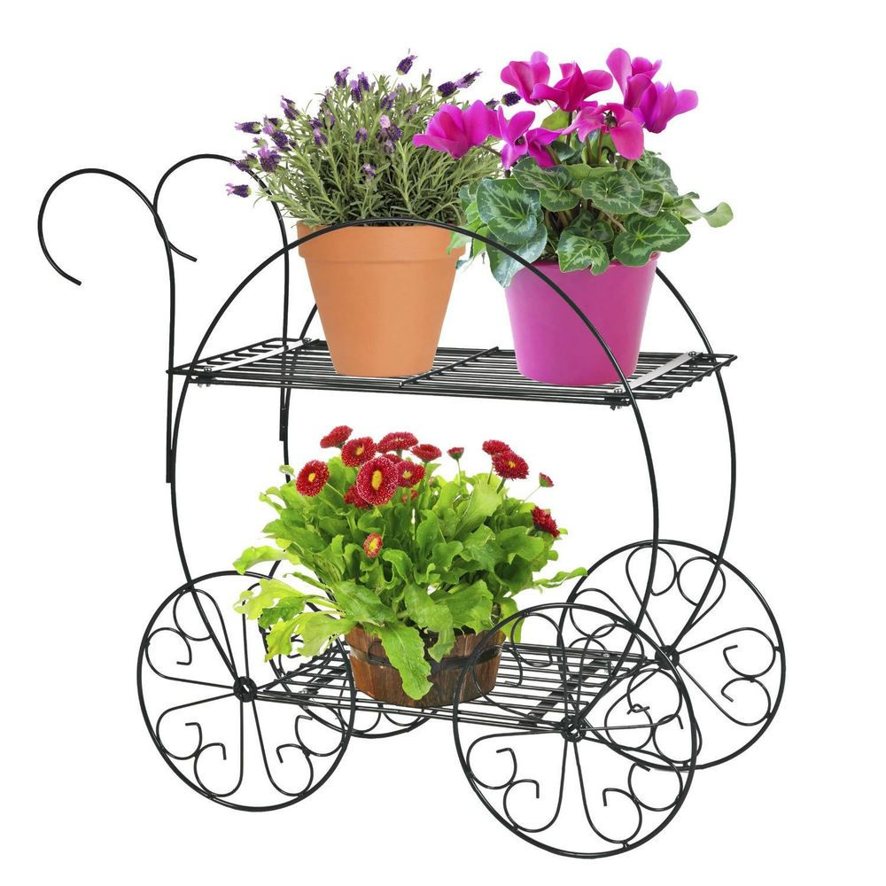 Bicycle Flower Garden Decor Iron Plant Stand Wrought Sturdy Outdoors ...
