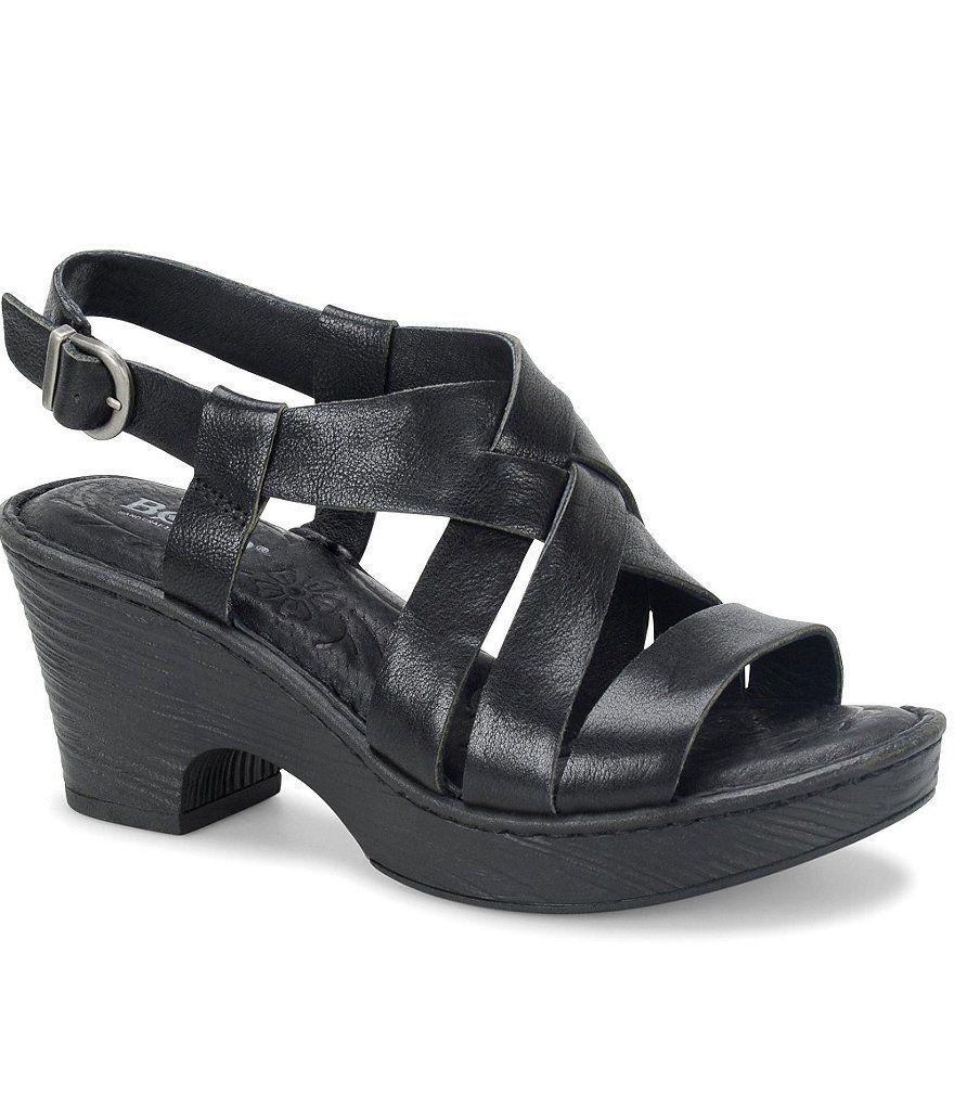 66d05ad920a Black Born Carmo Leather Criss Cross Sling Back Block Heel Sandals ...