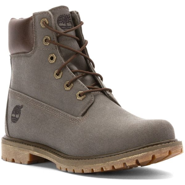 Timberland Women's 6 Inch Premium Fabric Boot Boots (385546901) ($127) ❤  liked. Timberlands ShoesShoe GameWaxed CanvasTimberland ...