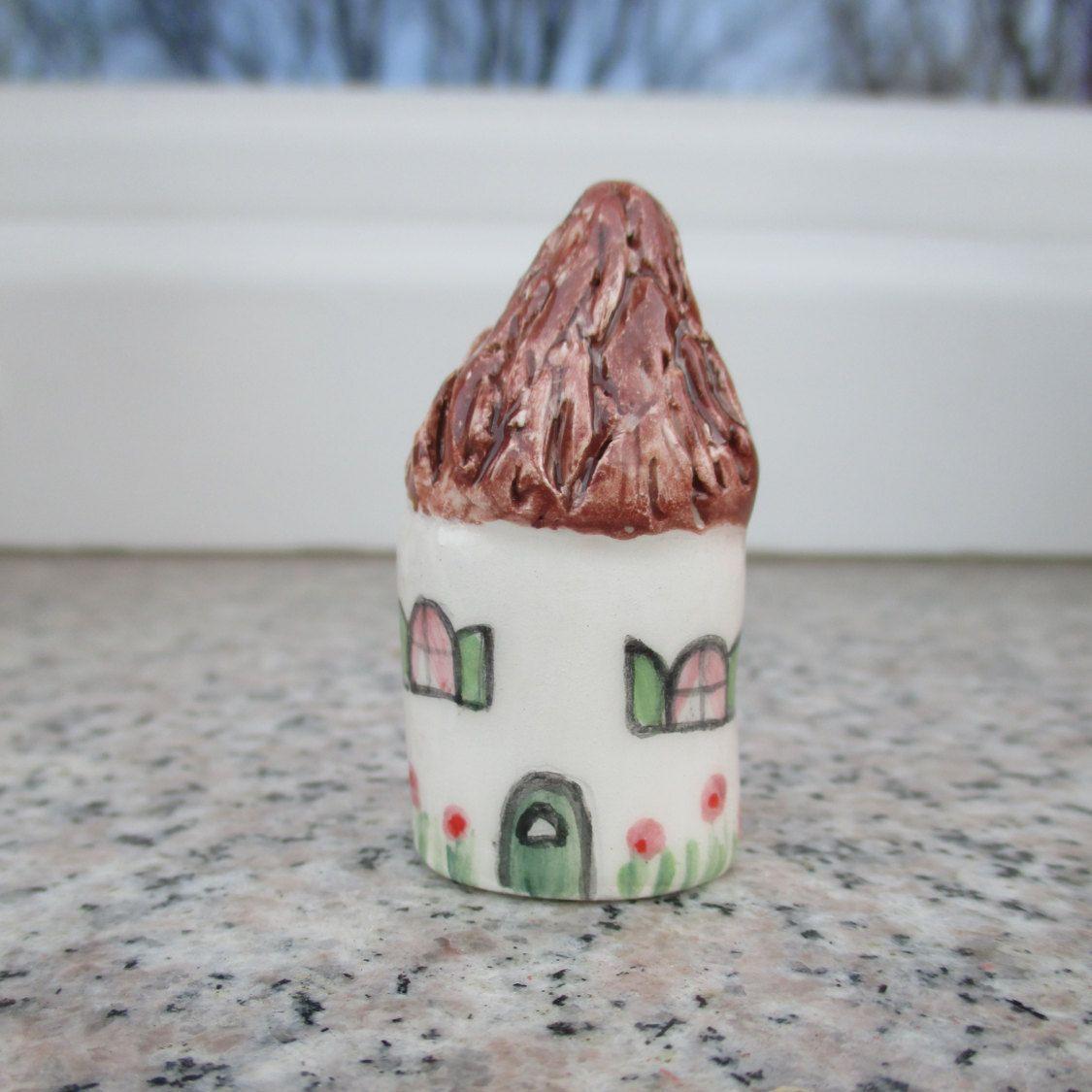 Miniature Ceramic Cottage,Small Ceramic cottage,Tiny Pottery House,Thatched Roof,Miniature House,Terrarium House,Pottery,Cottage,Small House by TatjanaCeramics on Etsy