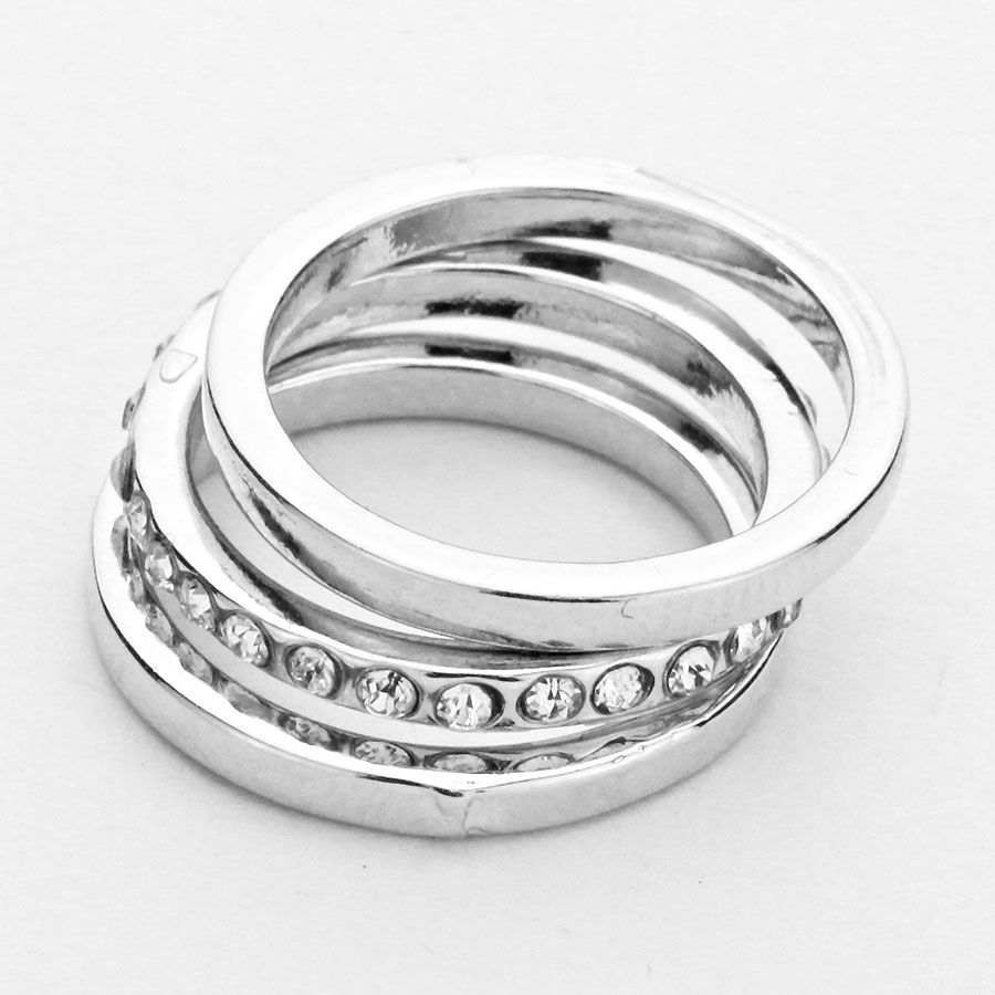 Set of 3 Crystal Accented Simple Band Knuckle Rings – Rhodium Silver