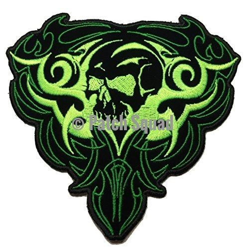 Green Gothic Tribal Skull Embroidered Iron On Patch - By Patch Squad